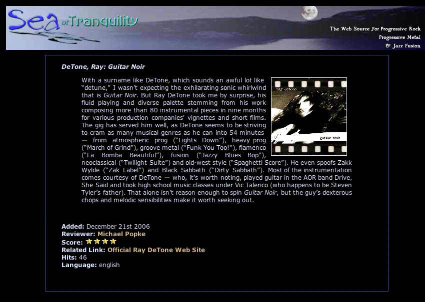 Guitar Noir Sea of Tranquility Review